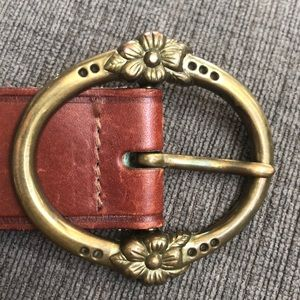 Vintage Leather Belt with Decorative Brass Buckle